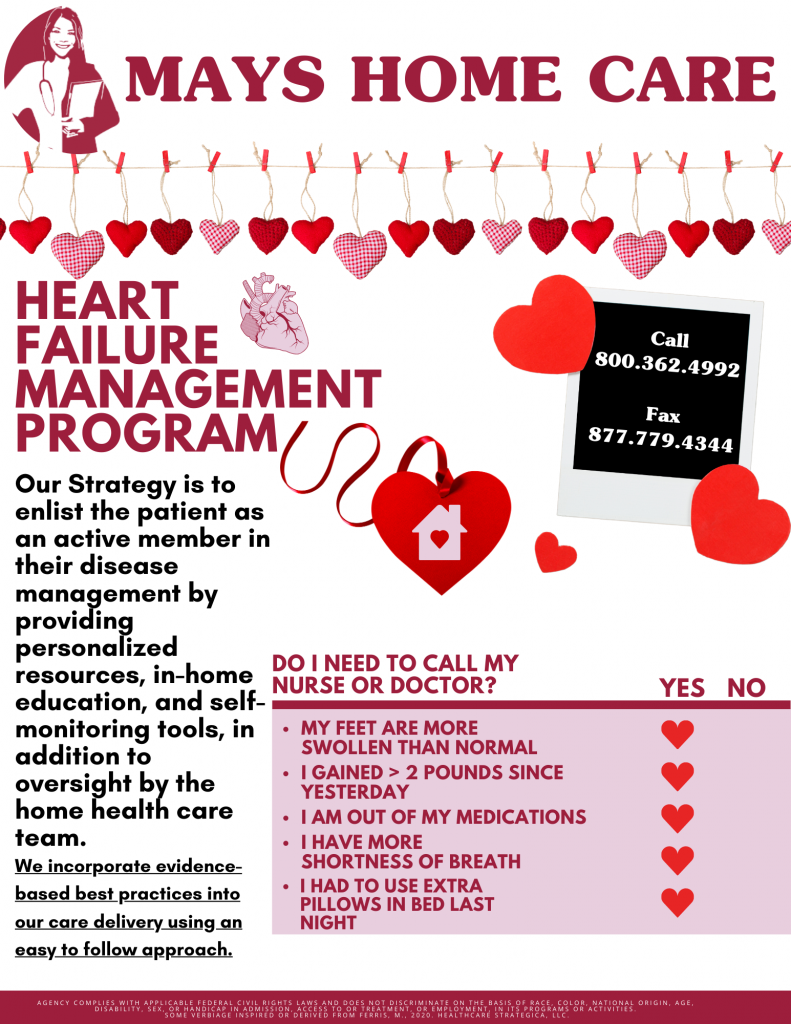 Newsletter showcasing Mays Home Care's heart management program for home health nursing services