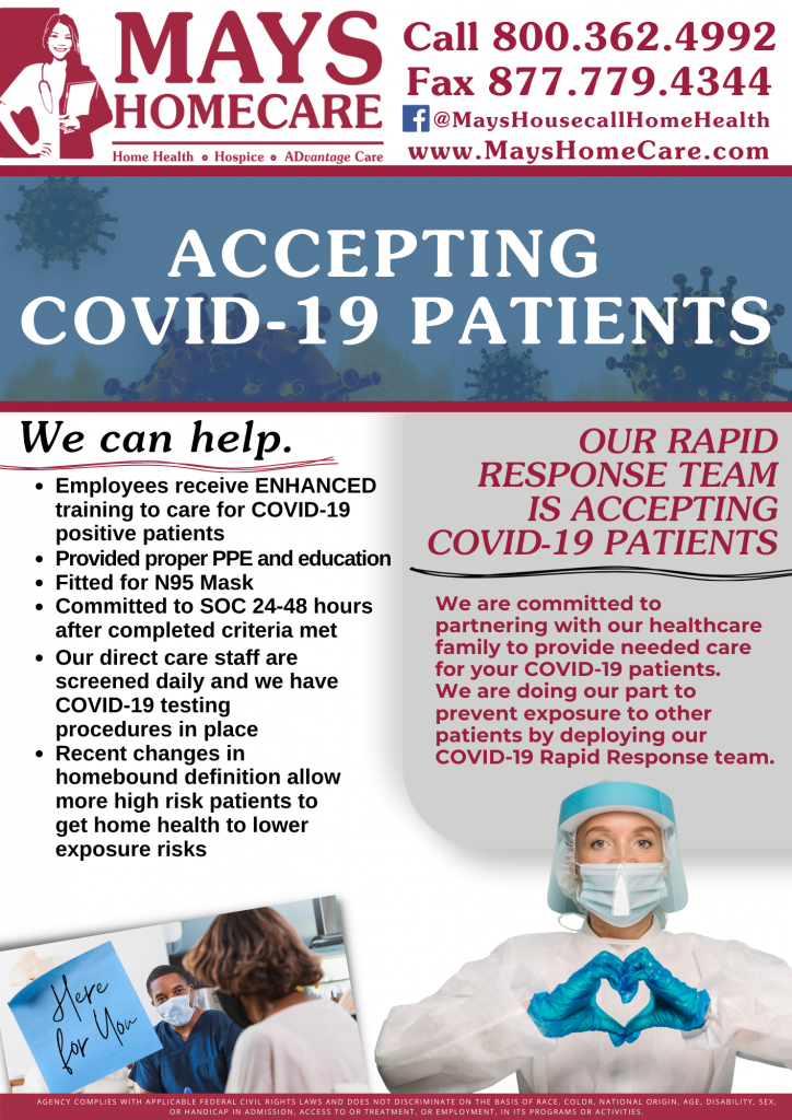 Newsletter showcasing Mays Home Care's Rapid Response Team Accepting COVID-19 Patients for Home Health Care